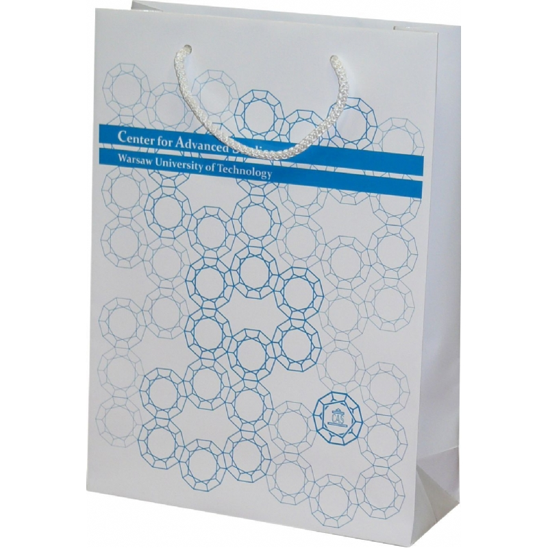 Papieren zak met glanzende laminering en gedraaide handvaten