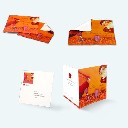 Brillendoekje met wenskaart en envelop
