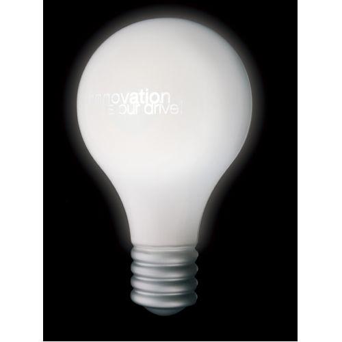 Pushlight in de vorm van een gloeilamp met opdruk