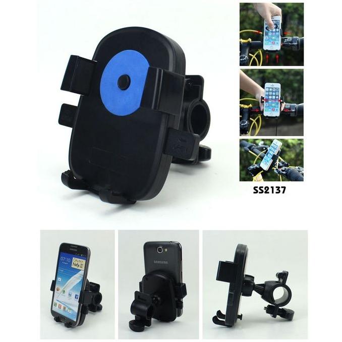 Houder voor mobiele telefoon op de fiets met dubbele rekbare springveer