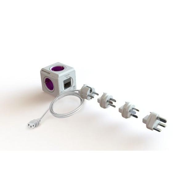 Reisstekker met 4 stopcontacten, 2 USB-poorten en IEC kabel