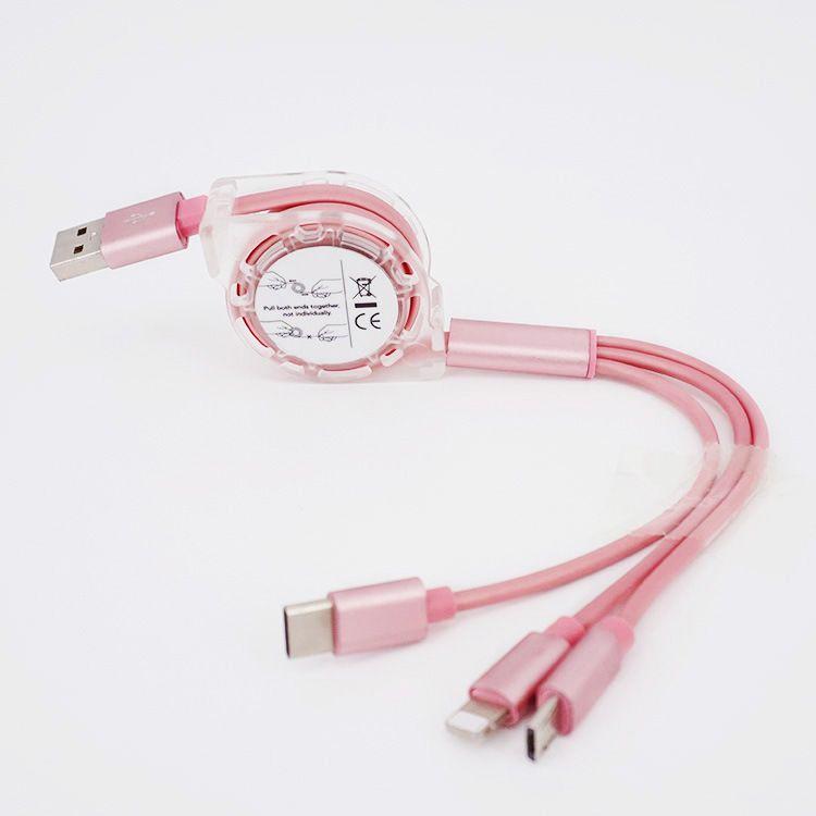 3-in-1 uitrekbare USB laadkabel