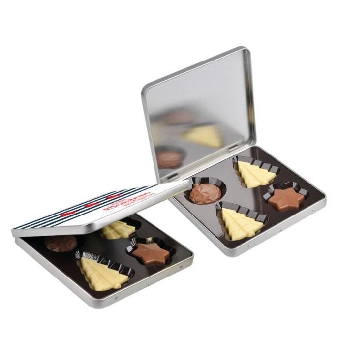 Metalen doosje met chocolade kerstfiguurtjes