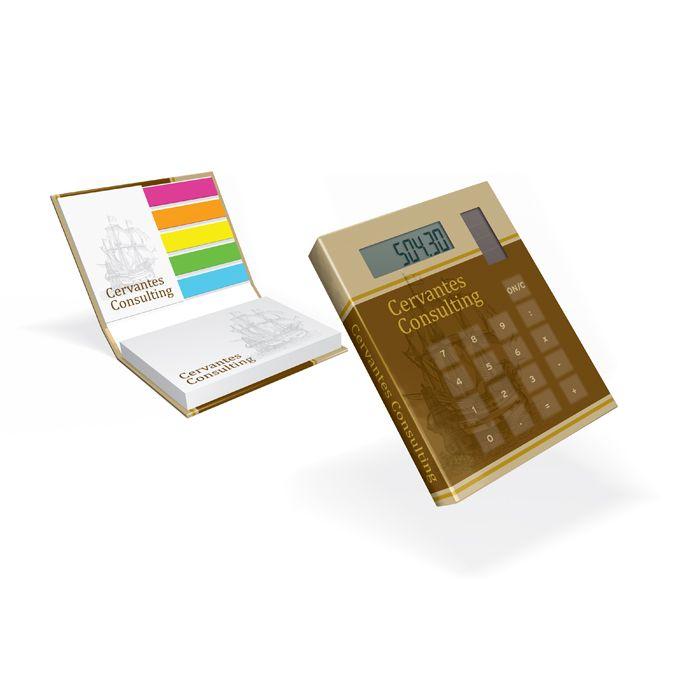 Hardcover notitieblokje met geïntegreerde rekenmachine op de omslag