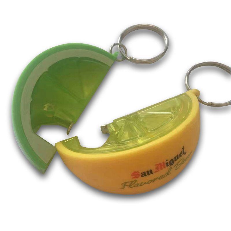 Flesopener in de vorm van een citroen- of limoenschijfje.