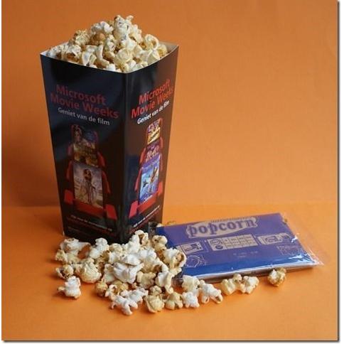 Mailing met popcorn