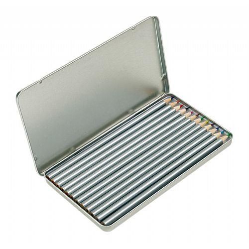 kleurpotloden in metalen doosje